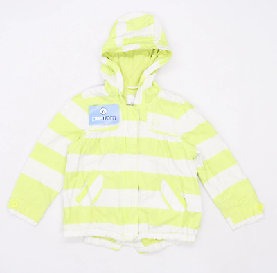 Next Girls Striped Multi-Coloured Lightweight Zip Up Yellow And White Coat Age 4