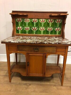 Vintage Victorian Wash Stand With Marble Top and Tiled Splash Backing