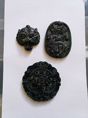 Black green Jade carved Chinese pendant necklace set 11 pcs collection