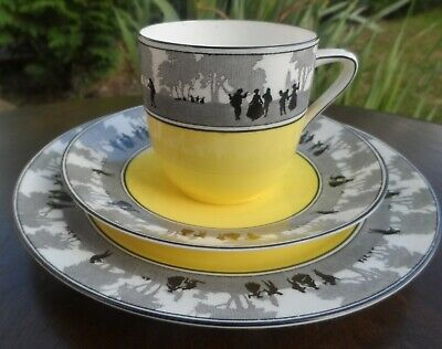 Vintage FOLEY CHINA Yellow Silhouette pretty TRIO Cup Saucer Sandwich Plate