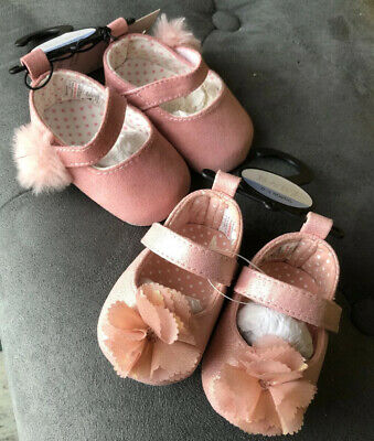 2 Pairs Of pink Baby Girls First Pram Shoes 0-3 Months BNWT