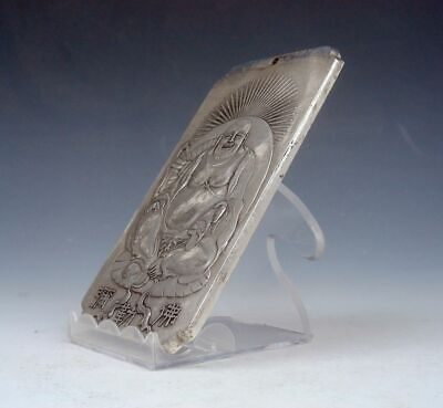 Tibetan Silver Paperweight Pendant Seated Laughing Buddha Mi-Le 4.8OZ #03292008