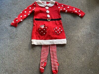Girls Red White Festive Dress With Elf In Pocket And Stripe Tights Age 3-4 Years