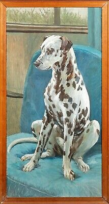 Large Early 20th Century Portrait Of Dalmatian Dog Antique Oil Painting