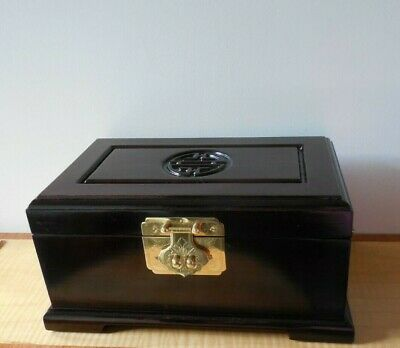 Chinese, Hand Crafted, Lacquered Rosewood Jewellery Box, Ornate Brass Hardware