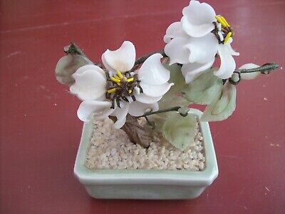 SALE ; Vintage Exquisite Chinese Bonsai Jade flower tree.