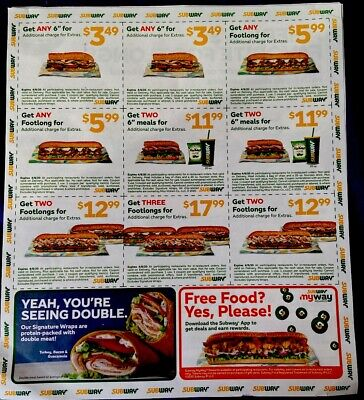 5 Sheet Subway Coupons Expire 04/08/20