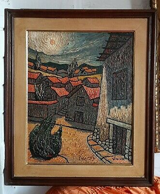 great masterpiece,oil in high relief on canvas,abstract landscape of old painter