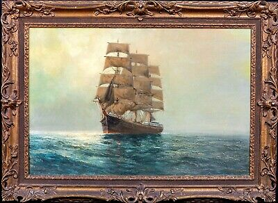 Large 19th Century English Clipper Ship Sailing Seascape Sea Daniel SHERRIN