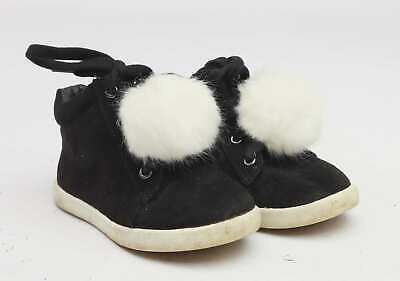 River Island Girls UK Size 7 Black Fluffy Warm Suede Ankle Boots