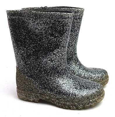 Next Girls UK Size 9 Black Sparkly Wellington Boots