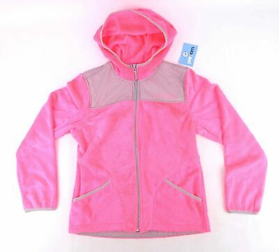 Free Country Girls Textured Pink Neon Fluorescent Soft Fluffy Grey Hoodie Size L