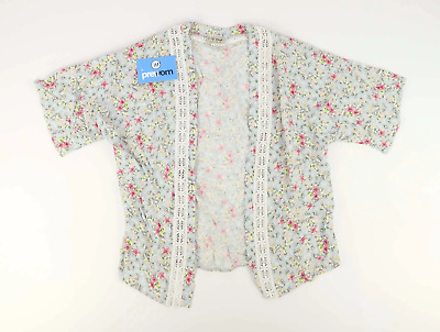 Next Girls Floral Blue Summer Lace Detailing Pink Waterfall Short Sleeved Cardig