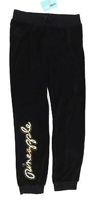 Pineapple Girls Graphic Black Velour Gold Metallic Gems Comfy Sweatpants Age 12-
