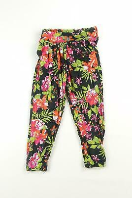 Lily & Dan Girls Black Floral Trousers Age 3-4