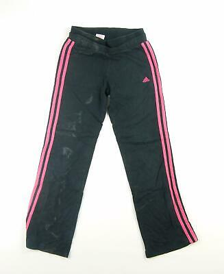 Adidas Girls Black Plain Cotton Trousers Age 11-12