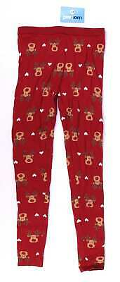 Pepperts Girls Red Christmas Rudolph Reindeer Fluffy Winter Warm Trousers Age 10