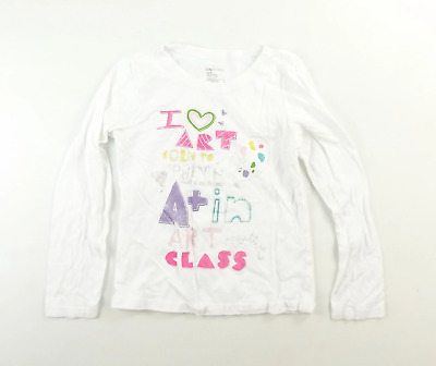 Gap Girls White Graphic Cotton T-Shirt Age 10