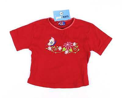 Preworn Girls Red Butterfly Flowers T-Shirt Age 2-3