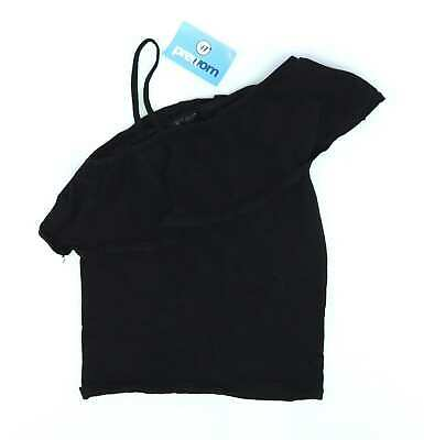 Kylie Girls Black Strappy Frill One Shoulder Party Top Age 13