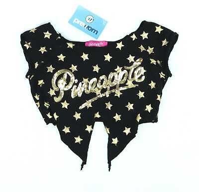 Debenhams Girls Black Graphic Sequin Stars Top Age 8-9