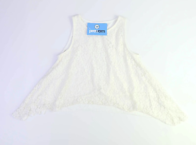 Candy Couture Girls Textured Ivory Floral Lace Waterfall Top Age 10-11