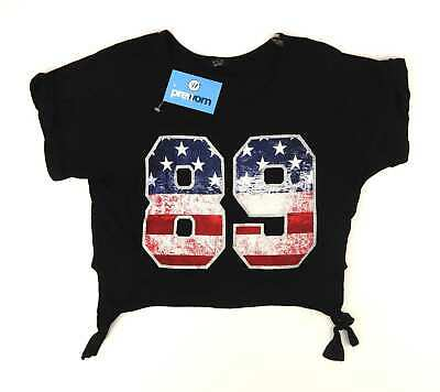 Kylie Girls Graphic Black Crop Usa Glitter Side Ties Top Age 13