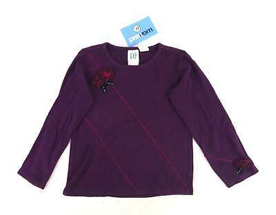 Gap Girls Textured Purple Flowers Long Sleeve Top Age 4