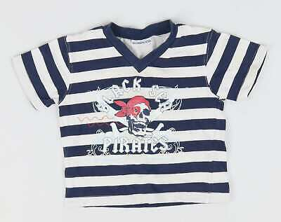 Preworn Baby Boys Blue Striped T-Shirt Age 18-23m