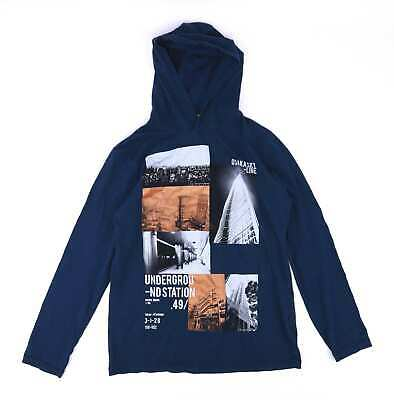Marks & Spencer Boys Blue Hooded Graphic T-Shirt Age 13-14