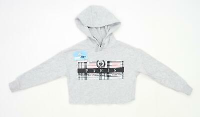 New Look Girls Graphic Grey Lightweight Hoodie Age 9