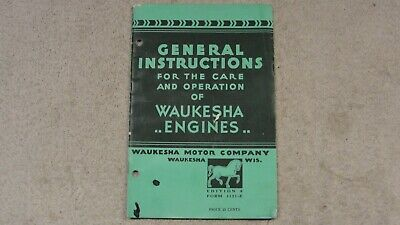 Vintage 1942 General Instructions for the Operation & Care of WAUKESHA Engines