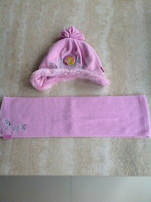 Disney Sleeping Beauty Hat And Scarf Set Pink age 2-4