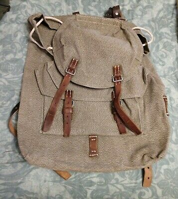 Vintage Swiss Army Military Backpack Rucksack Salt & Pepper Leather Canvas 1957