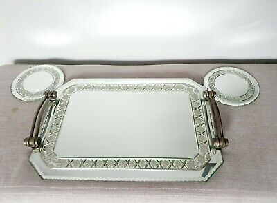 Original Vintage Art Deco Mirrored Tray with Coasters - Cocktails - Drinks 1930s