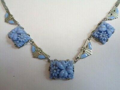 Antique ART DECO CZECH FLOWER Molded Blue GLASS Enamel Silver Gilt Link Necklace