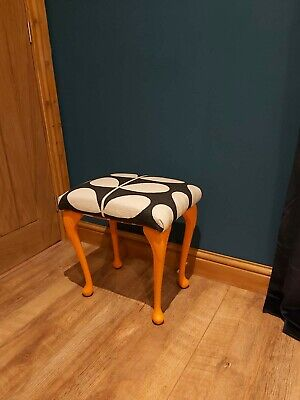 Footstool/Dressing Table Stool Covered In Orla Kiely Fabric Black & White