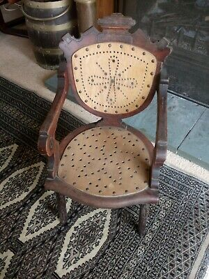 Antique Child's Chair Vic/Ed Nice Carved Oak & Pierced Made-Up From High Chair