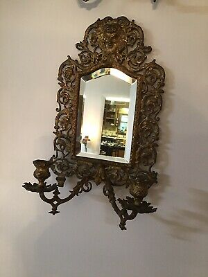 antique vintage BRASS FRAME MIRROR WALL CANDLE HOLDER gothic Looking