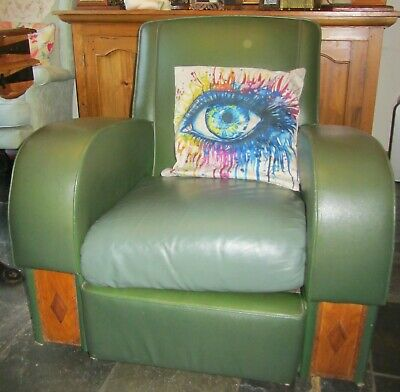 Vintage Art deco style green rexine club chair 1940s 1950s