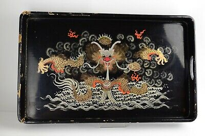 Vintage Chinese Lacquered Wood Tray with Dragon and Ball Hand Painted Decoration