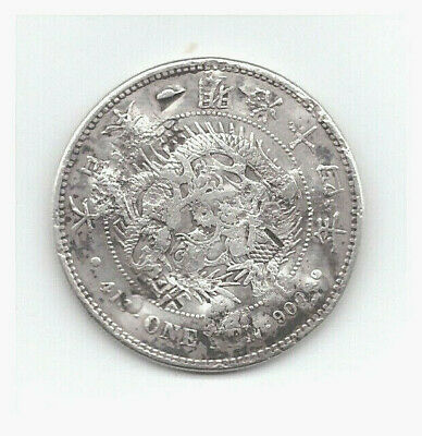 JAPAN EARLY 20th CENTURY SILVER ONE YEN in Fine CONDITION with HEAVY CHOP MARKS!
