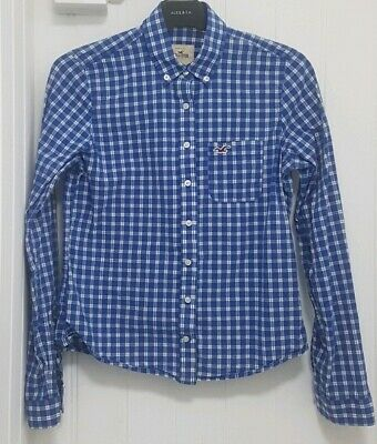Holister Shirt - Blue and White - Size Small (Childrens)