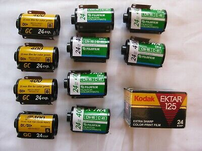 Lot of 11 35mm Film Kodak and Fuji Color Print Film ISA 400 and 125 Expired