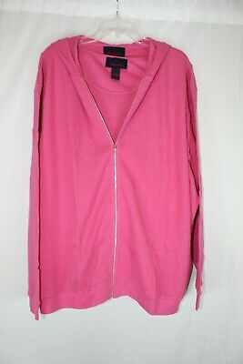NWT Denim & Co. Long Sleeve Hooded Jacket with Tank Top HOT PINK SZ 3X #J358