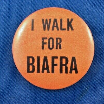 "Original ""I Walk For Biafra"" Pin/Badge - Australian Campaign Badge 1967"
