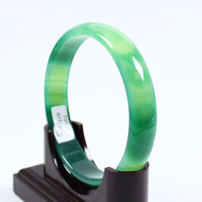 69mm Certified Natural Grade Agate Chalcedony Green Jade Bracelet Bangle a1764
