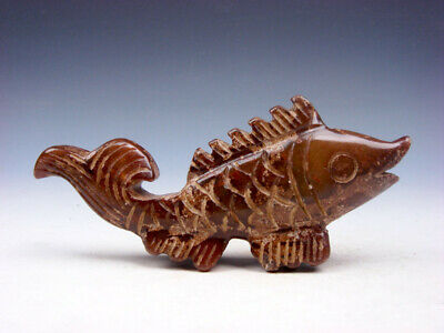 Old Nephrite Jade Stone Carved Sculpture Big Tail Fish #10161905