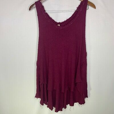 Free People Waffle Knit Hi Low Tank Top Womens Large Red Wine Colored Distressed