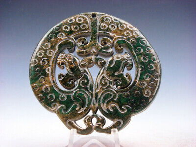 Old Nephrite Jade Stone 2 Sides LARGE Pendant Double Monster Tigers #03222010